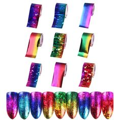 9 Sheets Gradient Starry Sky Nail Art Foil Paper Manicure Sticker Decal Tips Diy Sky Nails, Uv Gel Nails, Nail Manicure, Acrylic Nails, Foil Nail Art, Foil Nails, Nail Art Stickers, Diy Stickers, Diy Art
