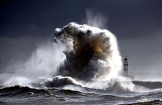 Gale Force winds make spectacular waves at the harbour in Seaham, England as they batter the seafront on February 6, 2013.