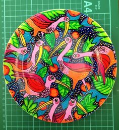 Handpainted Individual Fantasy Flamingo Plate £15.00