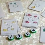 Milk cap numbers and animal counting cards (she also has other counting cards on her site)
