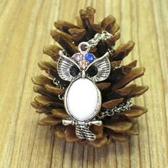 """OWL on BRANCH White Turquoise Necklace New Silver Tone Rhinestone 20"""" Chain #New #Pendant"""