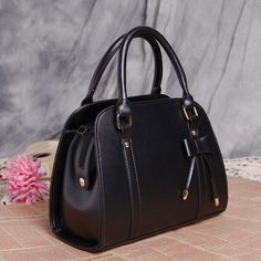 Leather handbags with Bow