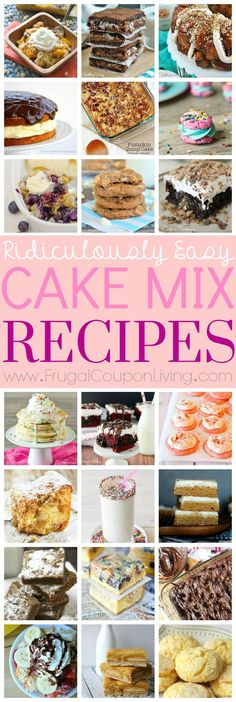 Absolutely amazing and delicious recipes featuring cake mixes - creative, easy to make and so yummy. Round-up of some of the best cake mix recipes on Frugal Coupon Living.