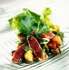 Peppered Tuna Salad with Grilled Asparagus and Quail Egg - Chefs Pencil Seafood Appetizers, Seafood Dishes, Fish And Seafood, Seafood Recipes, Asparagus Egg, Grilled Asparagus, Grilled Salmon, Tuna Nicoise Salad, Healthy Foods To Eat