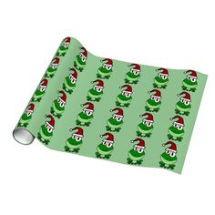 Happy Green Frog Wearing Santa Hat Gift Wrap Paper #frogs #Christmas #wrapping #paper And www.zazzle.com/tickleyourfunnybone*