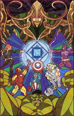 The Avengers illustrated by stained glass by Chinese illustrator Breathing2004