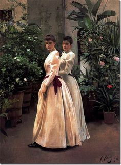 Portrait of Two Young Ladies N. - Ramon Casas y Carbó - 1890 Spanish Painters, Spanish Artists, Ramones, Woman Painting, Figure Painting, Victorian Paintings, Victorian Portraits, Modernisme, Painted Ladies