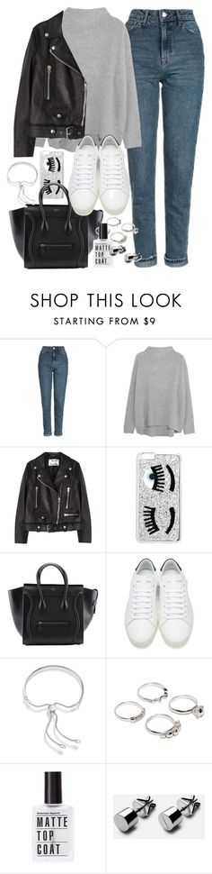 """Outfit with a leather jacket and boyfriend jeans"" by ferned ❤ liked on Polyvore featuring Topshop, Vince, Acne Studios, Chiara Ferragni, Yves Saint Laurent, Monica Vinader and Lauren Klassen"
