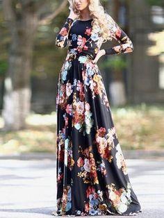 Long Sleeve Florals Maxi Black Dress