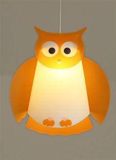 Lampe suspension enfant Hibou Orange, Création Française R&M Coudert.