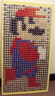 """thedailywhat: """" Bottle Cap Art of the Day: Beer Bottle Cap Mario by BottleCapArt. See Also: Beer Bottle Cap Inky. Bottle Cap Table, Beer Bottle Caps, Bottle Cap Art, Bottle Top, Bottle Cap Projects, Bottle Cap Crafts, Beer Cap Crafts, Beer Cap Art, Retro Game"""