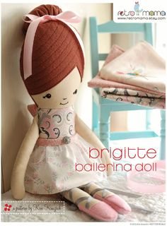 Ballerina Doll Sewing Pattern Instant Download PDF doll pattern by retromama on Etsy https://www.etsy.com/listing/170044891/ballerina-doll-sewing-pattern-instant