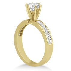 14k Gold Channel Set Princess Engagement Ring 0.50ct (G-H, SI1-SI2) (14k Rose Gold - Size 6.5), Women's, Pink