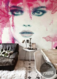 The explosion of passion beautiful watercolor wall mural - inspiration wallmurals, interiors gallery• PIXERSIZE.com