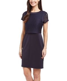 Another great find on #zulily! Navy Embroidered Layered Sheath Dress by Shelby & Palmer #zulilyfinds