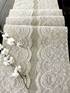 Wedding table runner with beige lace rustic chic wedding