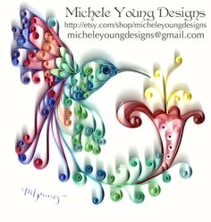 Quilled multicolor hummingbird and flower  by MicheleYoungDesigns, $35.00