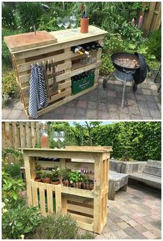 Everything at hand for a perfect BBQ: get hold of 2 similar block pallets. preferably sized around 110 x get some boards from e. fences, around 10 -(Diy Garden Projects) Pallet Furniture, Outdoor Furniture Sets, Furniture Ideas, Furniture Design, Barbie Furniture, Furniture Layout, Playhouse Furniture, Pallet Playhouse, Furniture Vintage
