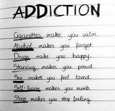addiction, alcohol, cigarettes, drugs, self-harm, sex, starving, tumblr, writing