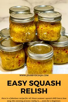 Squash Relish Canning Recipe, Canning Squash, Relish Recipes, Pickled Squash Recipe, Jelly Recipes, Recipe For Relish, Yellow Squash Relish Recipe, Easy Canning, Canning Recipes