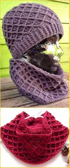 Crochet Diamond Cowl Free Pattern - Crochet Infinity Scarf Free Patterns