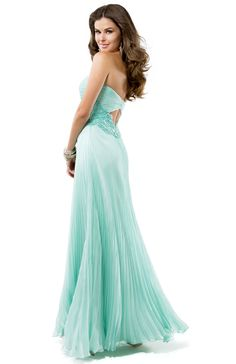Column Dress in Crystal Pleated Chiffon, Sparkling Crystals & Lace | FLIRT #pleats #mint #prom