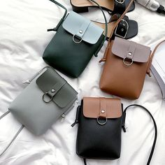 Women PU Leather Casual Mini Color Block Hasp Phone Bag Shoulder Bag Crossbody B… Women PU Leather Casual Mini Color Block Hasp Phone Bag Shoulder Bag Crossbody Bag – Banggood Mobile Leather Backpack, Leather Wallet, Pu Leather, Purses And Handbags, Leather Handbags, Luxury Handbags, Mini Crossbody Bag, Leather Bags Handmade, Fabric Bags