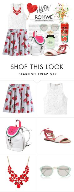 """""""Romwe Watermelon Print Skirt"""" by asteroid467 ❤ liked on Polyvore featuring Rebecca Taylor, Sophia Webster, MICHAEL Michael Kors, INC International Concepts, River Island and Dolce&Gabbana"""