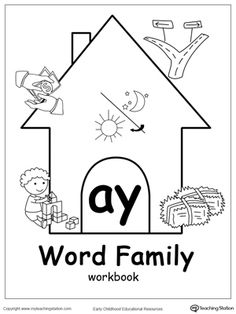 AY Word Family Workbook for Kindergarten: Our AY Word Family Workbook includes a variety of printable worksheets to help your child boost their reading and writing skills. The workbook includes printable worksheets and flashcards of common words ending with AY.