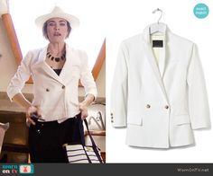 Banana Republic Seersucker Double-Breasted Blazer worn by Amelia Heinle on The Young & the Restless
