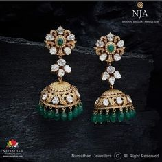 Check Out Iconic Antique Jewellery Collections Here - Creative Genius - Jewelry Gold Jhumka Earrings, Gold Earrings Designs, Gold Jewellery Design, Diamond Jewellery, Diamond Jhumkas, Gold Jewelry, Diamond Earrings Indian, Jhumka Designs, Diamond Choker