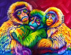Oil Pastel Paintings, Oil Pastel Art, Pop Art, Retro Waves, Colorful Animals, Monkey Business, All Gods Creatures, Art And Architecture, Animal Drawings