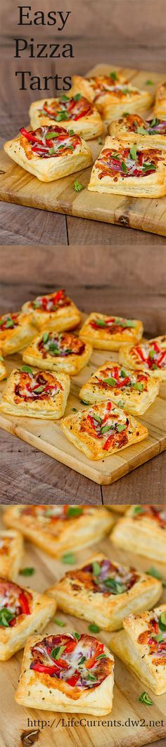 Easy Pizza Tarts are a great Tailgating Snack(Easy Baking Snacks) Fingerfood Recipes, Appetizer Recipes, Snack Recipes, Cooking Recipes, Baking Snacks, I Love Food, Good Food, Yummy Food, Pizza Tarts