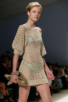 Crochetemoda: Crochet - Vestido Bege IV