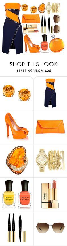 """Blue & Neon Orange"" by pulseofthematter ❤ liked on Polyvore featuring Thierry Mugler, Casadei, Valextra, Deborah Lippmann, Yves Saint Laurent, Bulgari and Hermès"