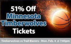 $18 (51% off) Minnesota Timberwolves Tickets vs Portland Trail Blazers Mon. Feb. 4 @ 7:00pm - Crowd Seats Cheap Sports Tickets