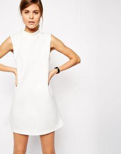 high neck white dress