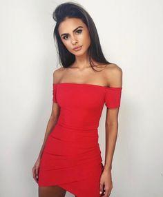 Goals. Pretty. Model. Red dress. Tight dress. Off the shoulder dress. Brunette.