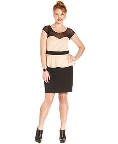 Trixxi Plus Size Dress, Cap-Sleeve Illusion Peplum