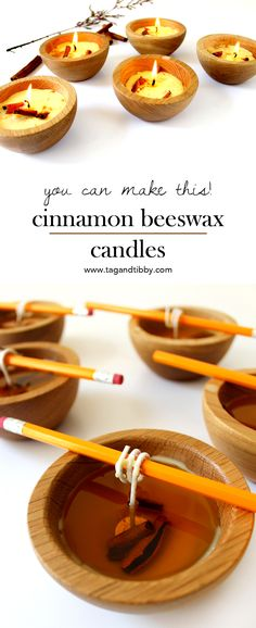 How to Make Scented Candles — Tag & Tibby Design DIY tutorial for beeswax candles with cinnamon and clove Homemade Candles, Diy Candles, Homemade Gifts, Candle Decorations, How To Make Scented Candles At Home, Making Beeswax Candles, Diy Candle Wick, Diy Gifts, Do It Yourself Organization