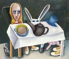 """Exhibition: 'Storm in a Teacup' at the Mornington Peninsula Regional Art Gallery, Mornington. """"This is the best thematic group exhibition I have seen in Melbourne and surrounds this year."""" http://artblart.com/2015/09/20/exhibition-storm-in-a-teacup-at-the-mornington-peninsula-regional-art-gallery-mornington/ Art work: Charles Blackman (b. Australia 1928) 'Feet beneath the table' 1956"""