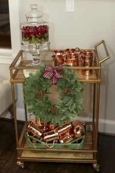 holiday parties It's here! Our Date Night Holiday Favorite Things Party! I hosted my first Favorite Things party to celebrate the launch of my book, Eat More Dessert. Bar Cart Decor, Bar Cart Styling, Christmas Home, Christmas Holidays, Favorite Things Party, Party Things, Favorite Holiday, Gold Bar Cart, Xmas Decorations