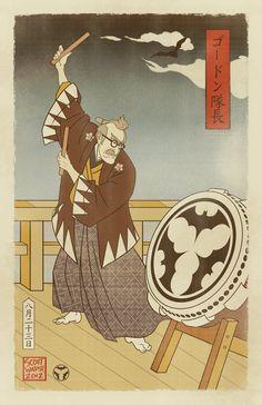 Sengoku Batman - Gordon Summons the Bat by swadeart.deviantart.com on @deviantART