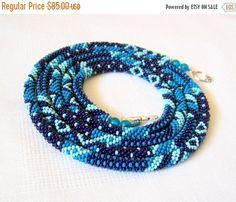 15% SALE Long Beaded Crochet Rope Necklace Beadwork by lutita