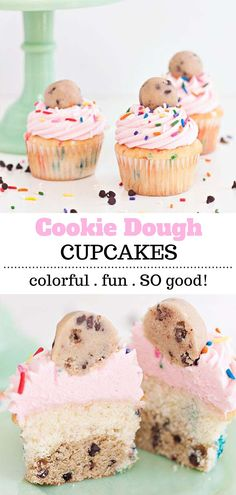 The most epic Cookie Dough Cupcakes ever! White confetti cake stuffed with chocolate chip confetti cookie dough topped with sprinkles, delicious buttercream and some more cookie dough! Sprinkles for Breakfast Köstliche Desserts, Delicious Desserts, Dessert Recipes, Yummy Food, Cupcake Recipes Easy, Plated Desserts, Appetizer Recipes, Easy Recipes, Confetti Cookies