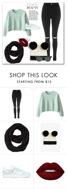 """""""Sem título #256"""" by bear-pretty ❤ liked on Polyvore featuring Topshop, John Lewis, Monki, adidas Originals, Lime Crime and Ray-Ban"""