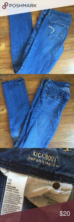 American eagle boot cut jeans American Eagle boot cut super stretch jeans. Long. Size 10. Great condition! American Eagle Outfitters Jeans Boot Cut