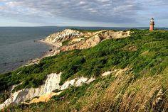 Martha's Vinyard, the cliffs of Aquinnah. Naked people on the beach below.