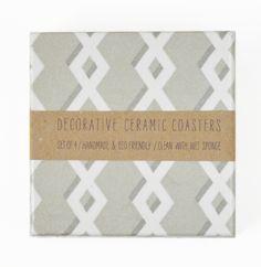 Geometric Grey Ceramic Coasters set of 4