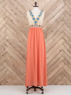 Tribal Embroidered Maxi Dress